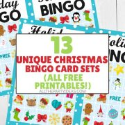 Christmas Bingo Cards for Kids, Adults, Family, Large Groups