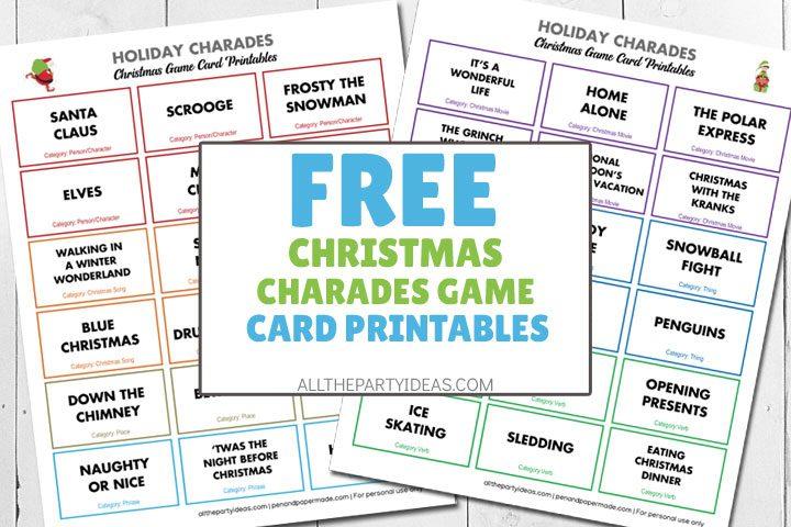free christmas charades game card printables
