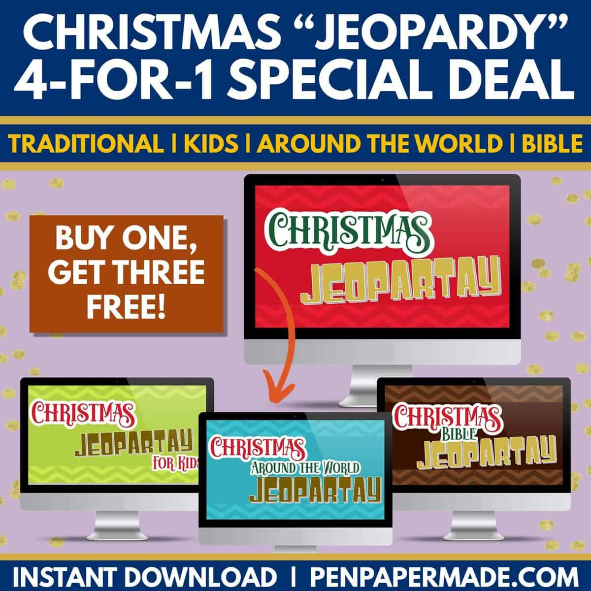 christmas jeopardy powerpoint games bundle.