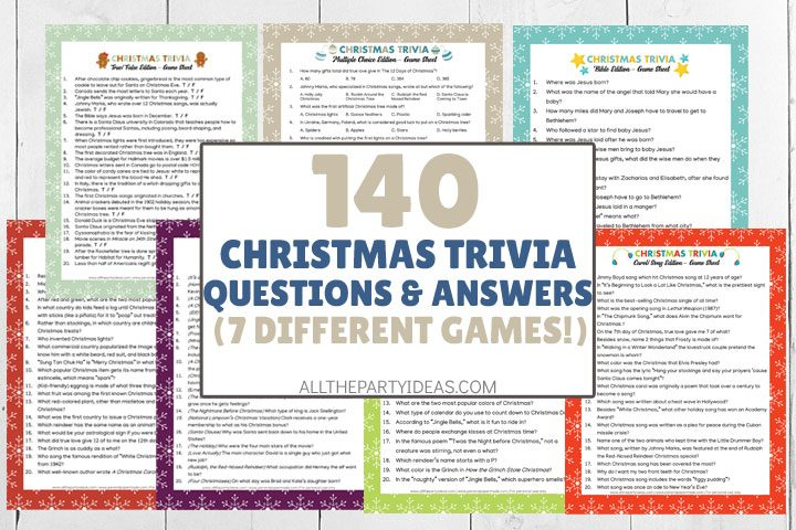 christmas trivia questions and answers - 7 different game printables
