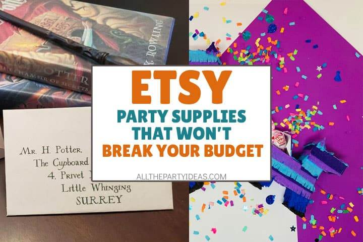 etsy party supplies that won't break your budget text atop harry potter invitation and fornite llama pinata.