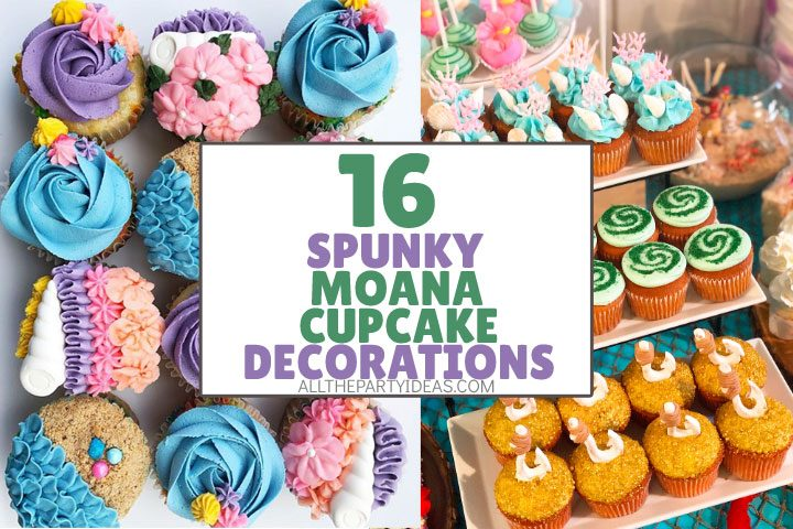 spunky moana cupcake decorations