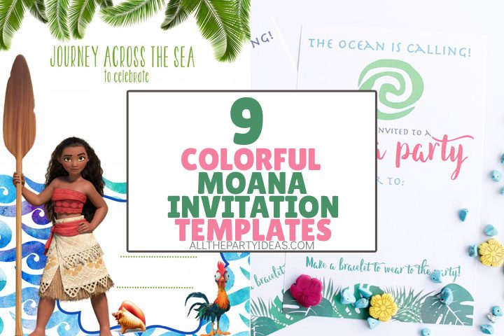 collage of moana invitation templates for free.