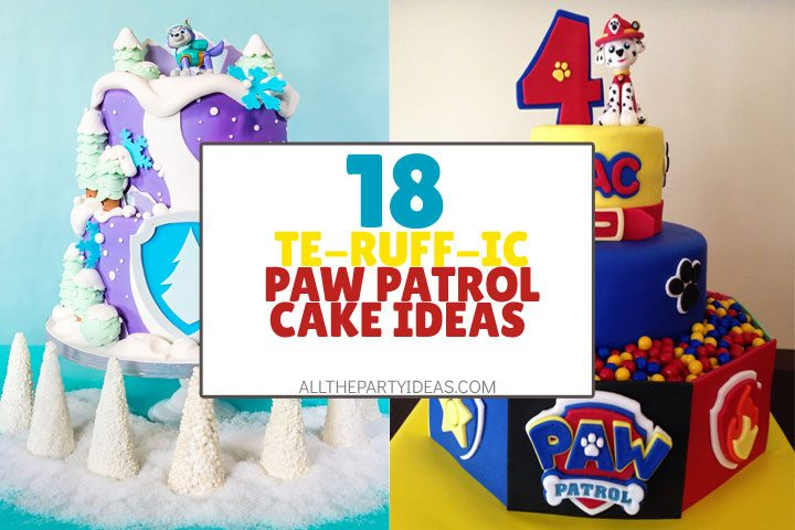 collage of terrific paw patrol cake ideas including 3 tier everest and marshall cake.